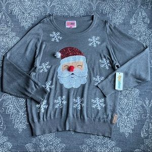 Tipsy Elves Sequin Santa Ugly Christmas Sweater XL